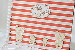 Papiernictvo - Detský fotoalbum - pre dievčatko (bielo-červený) - 10594738_