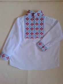 Detské oblečenie - Vyšívana  chlapčenska bavlnená  košielka s folklorným mitívom - 10594403_