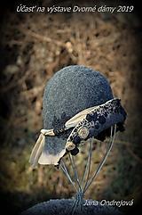 Čiapky - Sivo béžový klobúk - 10594081_