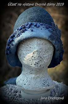 Čiapky - Plstený klobúk sivo-modrý - 10594132_