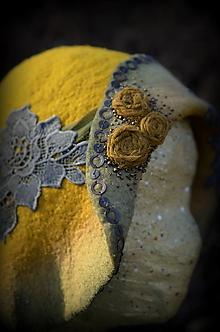 Čiapky - Plstený klobúk horčicový vintage - 10594322_