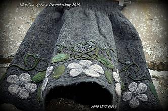 Sukne - Sivá hodvábno vlnená sukňa FOLKLÓR - 10594536_
