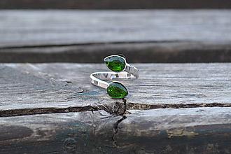 Prstene - Chromdiopsid strieborný rhodiovaný prsteň - 10593931_