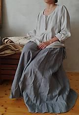 Sukne - ľanová dlhá sukňa - 10594542_
