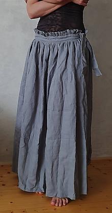 Sukne - ľanová dlhá sukňa - 10594541_