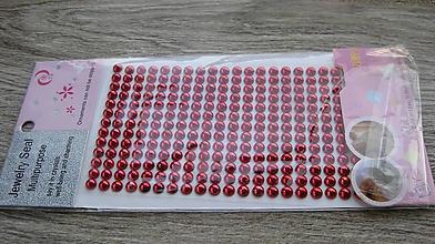 Komponenty - Samolepiace perly, červená, 6 mm - 10593714_