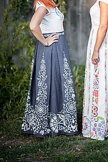 Sukne - tmavomodrá dlhá sukňa - 10591856_