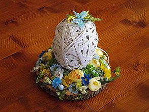 Dekorácie - Veľkonočné vajíčko žlto- modré na drevenom pláte - 10592625_