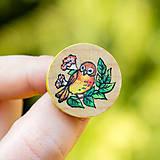 Odznaky/Brošne - Ručně malovaná brož s ptáčkem - mini kulatá - 10598469_
