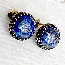 Náušnice - Bronze Filigree Lapis Lazuli Stud Earrings / Napichovacie náušnice s lazuritom #2067 - 10595904_