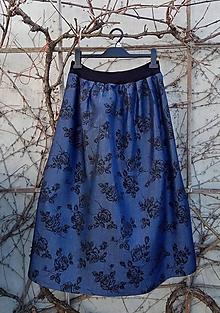 Sukne - Dlouhá jeansová sukně s květy - 10595775_