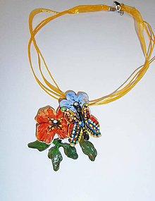 Náhrdelníky - lel,boho kvetinový náhrdelník motýľ - 10595571_