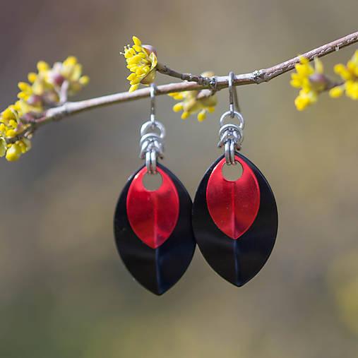 Náušnice Double Luxury - černá a červená