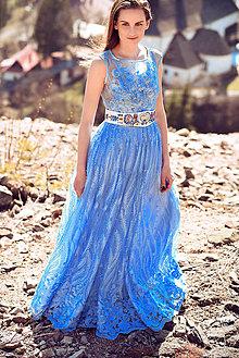 Šaty - Svetlomodré šaty s čipkou - 10595106_