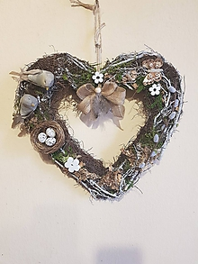 Dekorácie - veľkonočné prírodné srdce - 10596945_