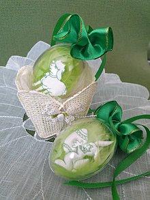 Dekorácie - Veľkonočné vajíčko (s barančekom a zajačikom) - 10597331_