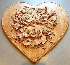 Obrazy - Drevorezba Rozkvitnuté srdce - 10598130_