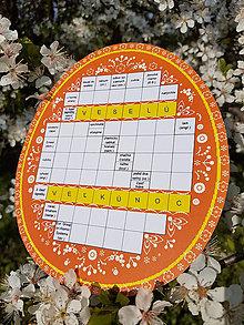 Grafika - Krížovkové FOLK vajíčko oranžové VESELÚ VEĽKÚ NOC - 10594989_