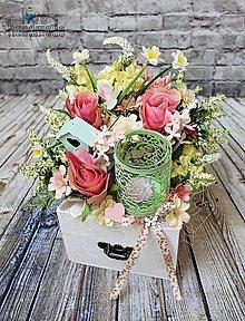 Dekorácie - Svietnik v šuflíku s ružami - 10598984_