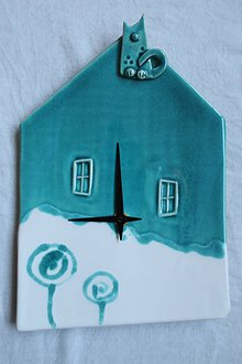 Hodiny - Hodiny keramické - domček - 10598856_