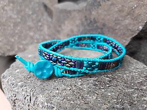 Náramky - Tyrkysovo - fialový wrap náramok - 10595260_
