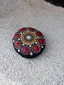 Drobnosti - Bordový kvietok - Na kameni maľované - 10598145_