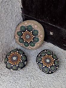 Drobnosti - Zelený kvietok - Na kameni maľované - 10598210_