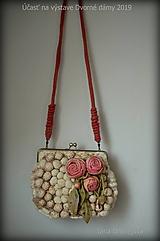 Kabelky - Béžová so staroružovými ružami - 10598913_
