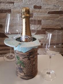 Nádoby - Keramický chladič-stojan na víno. - 10598840_