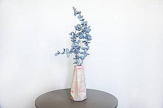 Dekorácie - Betónová váza Flores Marble (Ružová) - 10596218_