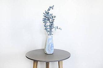 Dekorácie - Betónová váza Flores Marble (Modrá) - 10596227_