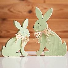 Dekorácie - Veľkonočná dekorácia z dreva - zajac zelený (sada (veľký + malý)) - 10595185_