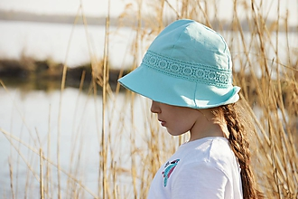 Detské čiapky - Ľanový klobúčik detský-mentolový - 10598993_