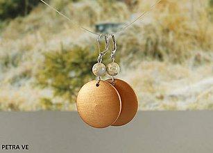 Náušnice - Drevené náušnice s prírodným kameňom - 10597195_
