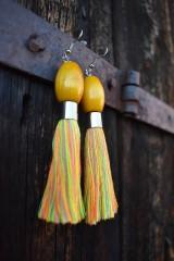 Náušnice - Žlto-farebné strapce - 10597200_
