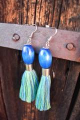 Náušnice - Modro-farebné strapce - 10597241_