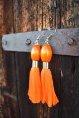 Náušnice - Pomarančové strapce - 10597282_