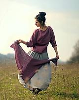 - Maxi sukně z mušelínu - šedá puntíčková - 10594960_