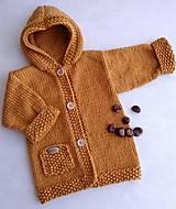 Detské oblečenie - Horčicový kabátosvetrík, dlhší sveter - 10597073_