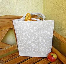 Nákupné tašky - Kvietky na režnej  - nákupná taška - 10597541_