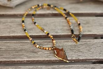 Náhrdelníky - Tenký náhrdelník z mixu minerálov - 10595017_