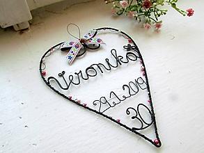 Iné - srdiečko k narodeninám (Biela) - 10597148_