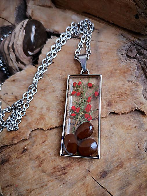 Živicový náhrdelník so semenami a konárikmi stromov, chirurgická oceľ