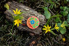 Odznaky/Brošne - Ručně malovaná brož s modrým květem - meruňková - 10602471_