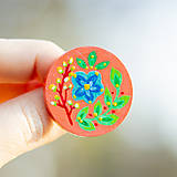 Odznaky/Brošne - Ručně malovaná brož s modrým květem - meruňková - 10602474_