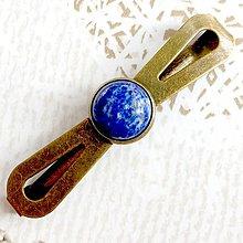 Ozdoby do vlasov - Vintage Elegant Lapis Lazuli Hair Clip / Vintage spona s lazuritom /2063 - 10600213_
