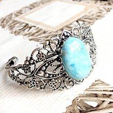 Náramky - Larimar & Antique Silver Bracelet / Obručový náramok s larimarom #0583 - 10600226_