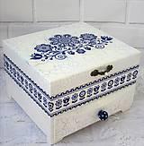 Krabičky - Šperkovnica - Modrý ornament - 10602618_