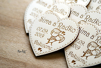 Darčeky pre svadobčanov - Magnetky pre svadobných hostí zaľúbený párik - 10600264_