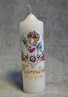 Svietidlá a sviečky - krstová sviečka s anjelikom a holúbkom - ružová/zlatá - 10599286_